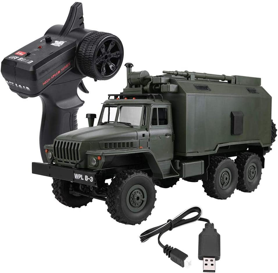RC Cami¨®n, Escala 1/16 2.4G Control Remoto Cami¨®n Militar RC 6WD Modelo Off-Road Coche Juguete para Ni?os Regalo