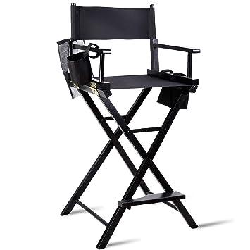 9471cd79a3042 Costway Chaise de Directeur Pliante Chaise de Réalisateur Fauteuil Metteur  en Scène en Bois 118x56x46cmNoire