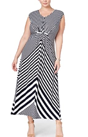 NY Collection Plus Size Striped Maxi Dress 3X at Amazon Women\'s ...