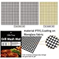 Cook Time BBQ Grill Mesh Mat Set of 3 Non Stick BBQ Mesh Grill Mats Teflon Grilling Mats Nonstick Fish Vegetable Smoker Mats for Grill - Works on Gas, Charcoal, Electric Barbecue