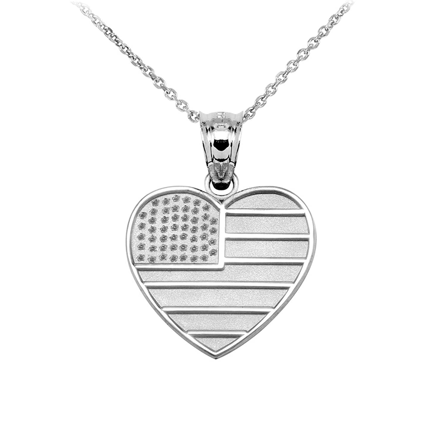 heart badge police dp american flag us sterling shaped silver jewelry necklace com amazon pendant