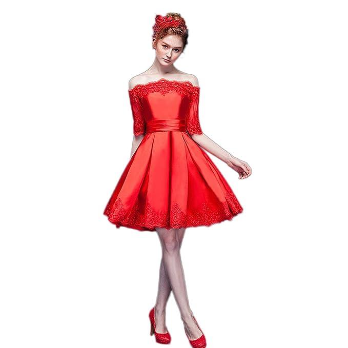Xnaihuafei vestido de noche de raso color rojo sin tirantes corto vestido de fiesta Rojo rosso