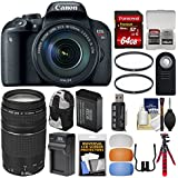 Canon EOS Rebel T7i Digital SLR Camera & EF-S 18-135mm is STM + 75-300mm Lens + 64GB Card + Backpack + Battery & Charger + Tripod + Filters Kit