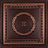Laurel Wreath-Faux Tin Ceiling Tile - Antique Copper 25-Pack