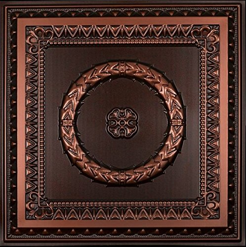 Laurel Wreath-Faux Tin Ceiling Tile - Antique Copper 25-Pack by Decoraids
