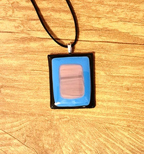 Fused Stained Glass Pendant Necklace - Black, Blue, and Purple (Black Fused Glass Pendant)