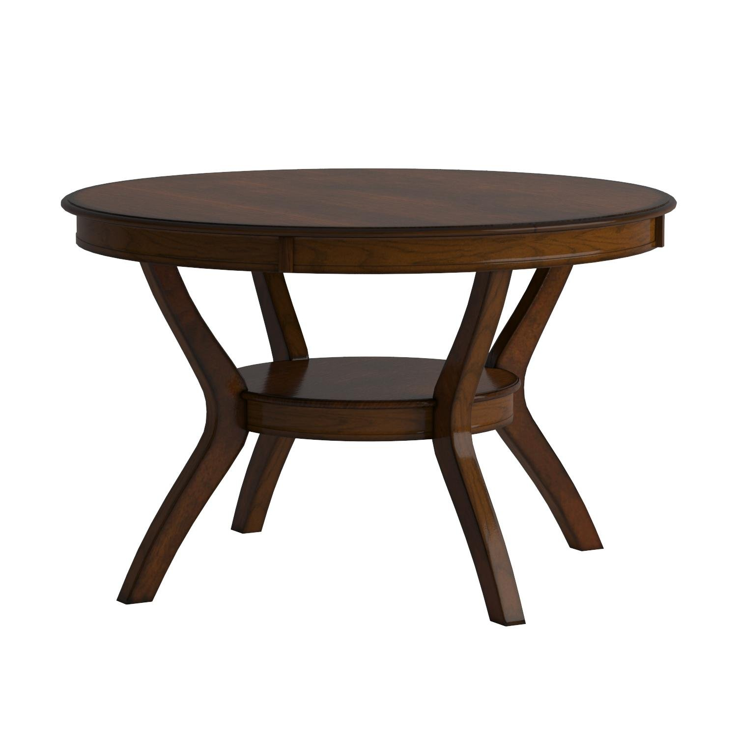 Coaster Home Furnishings  Nelms Classic Modern Transitional Round Dining Table with Storage Shelf - Deep Brown