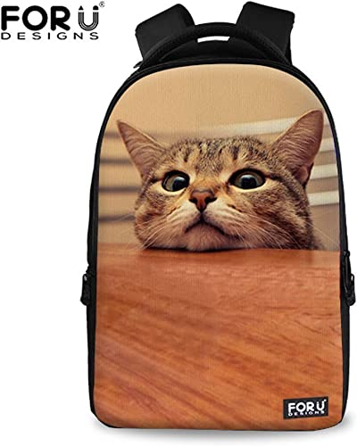 FOR U DESIGNS Cute Cat Print Personalized Daypack for Kids Grade Class Students