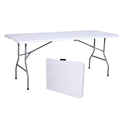 Delicieux Amazon.com: Uenjoy 6u0027 Portable Folding Table Plastic Indoor Outdoor Picnic  Party Camp Dining White: Kitchen U0026 Dining