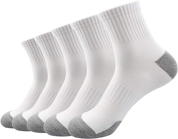 La Dearchuu - Calcetines de deporte para hombre, talla 39-43, algodón, corte medio Blanco Talla única: Amazon.es: Ropa y accesorios