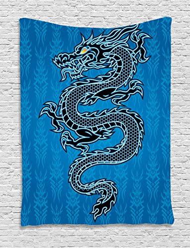 Ambesonne Japanese Dragon Tapestry, Black Dragon on Blue Tribal Background Year of The Dragon Themed Art, Wall Hanging for Bedroom Living Room Dorm, 40 W X 60 L Inches, Azure Black