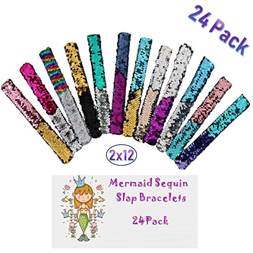 (My ONYX 24 Pack Mermaid Sequin Bracelets 2 Color Reversible Glitter Slap Wristbands Birthday Party Favors and Gifts - for Kids Both Girls and Boys)
