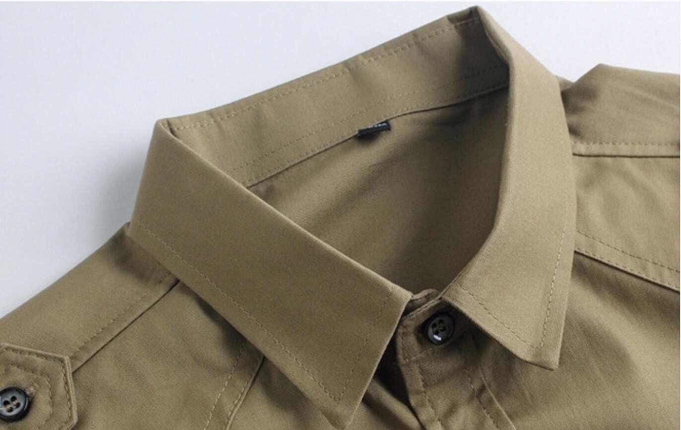 Gocgt Mens Military Dress Shirt Summer Short Sleeve Button Down Shirts