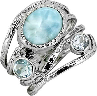 Sterling Silver Larimar and Blue Topaz Ring size 6.5