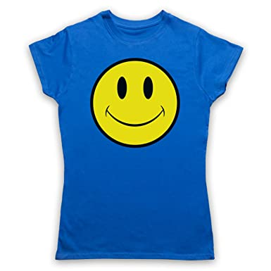 My Icon Art & Clothing Acid House Smiley Face Damen T-Shirt, Blau,