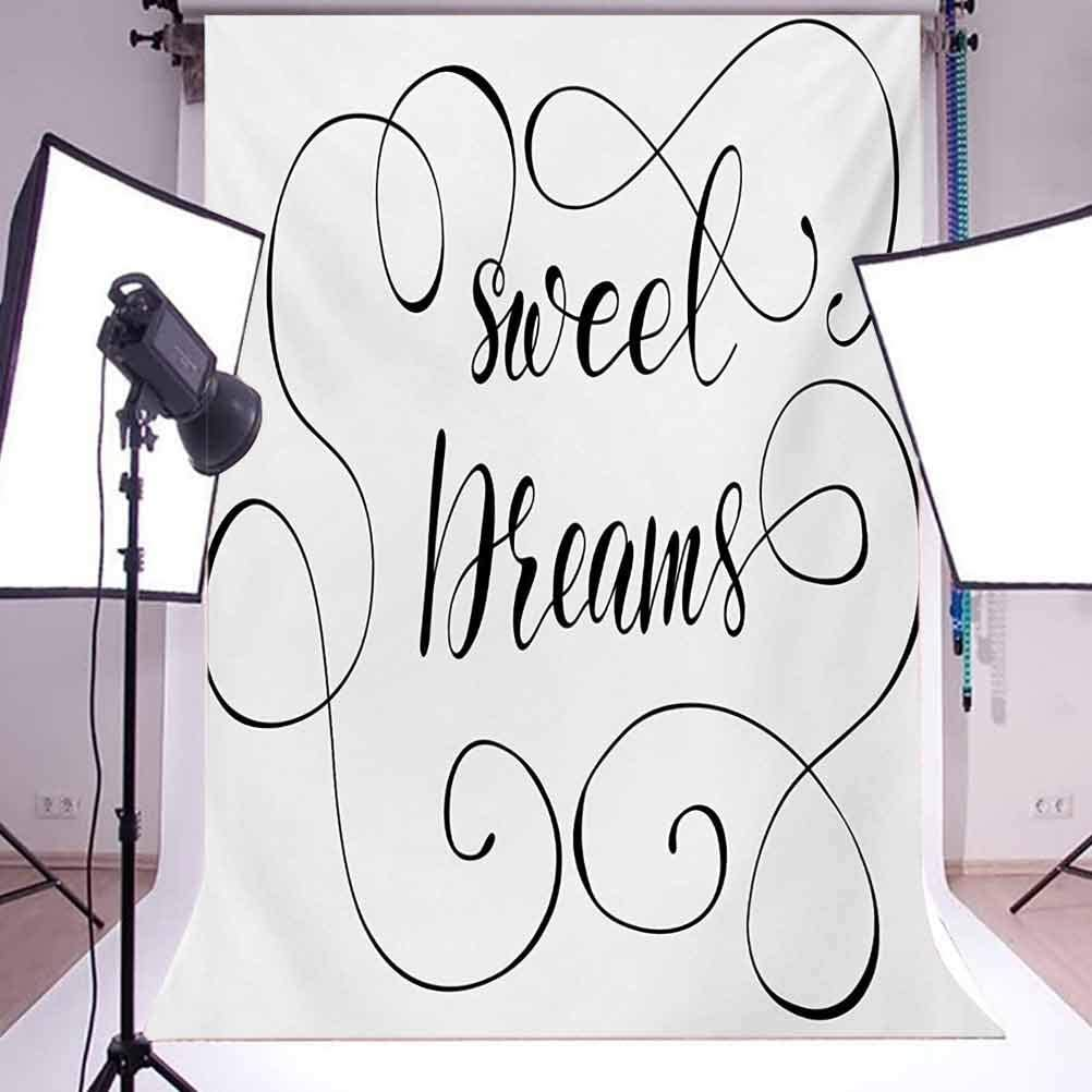 Sweet Dreams 10x15 FT Photo Backdrops,Inspirational Text with Modern Romantic Calligraphy Design and Swirls Background for Baby Shower Bridal Wedding Studio Photography Pictures Black and White