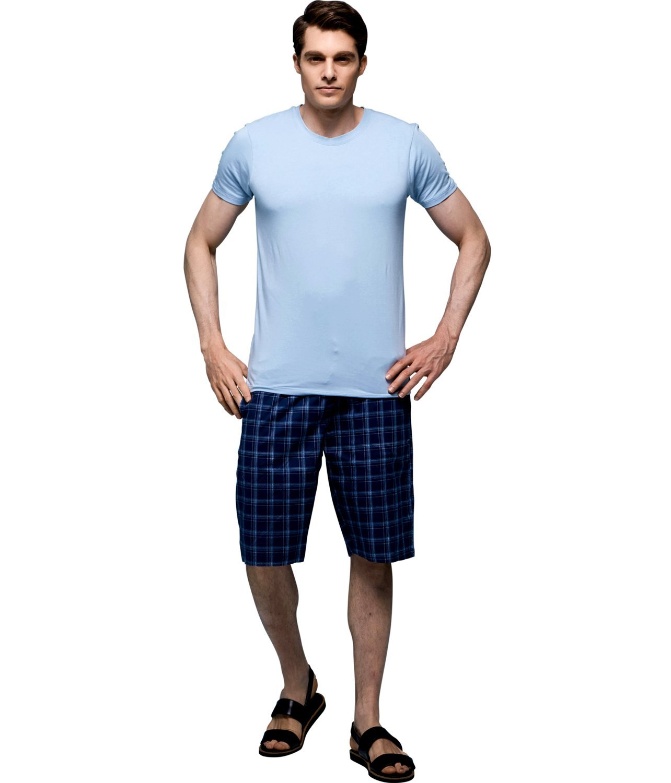 GP Feelvery Men's Comfort Crew Neck T-Shirt & Shorts Sleepwear Lounge Set (Medium)