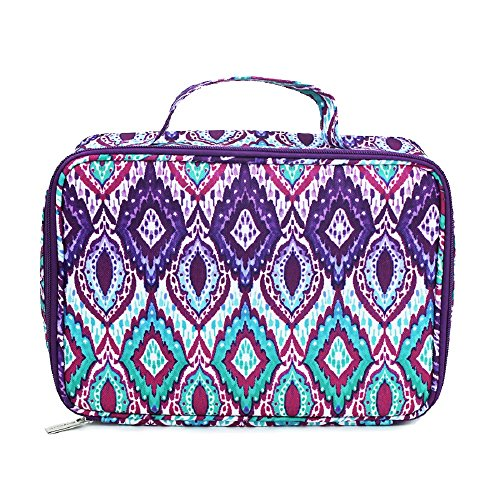 Diamond Ikat Ombre Purple Blue Teal 10.5 x 7 Inch Polyester Insulated Lunch Bag Tote