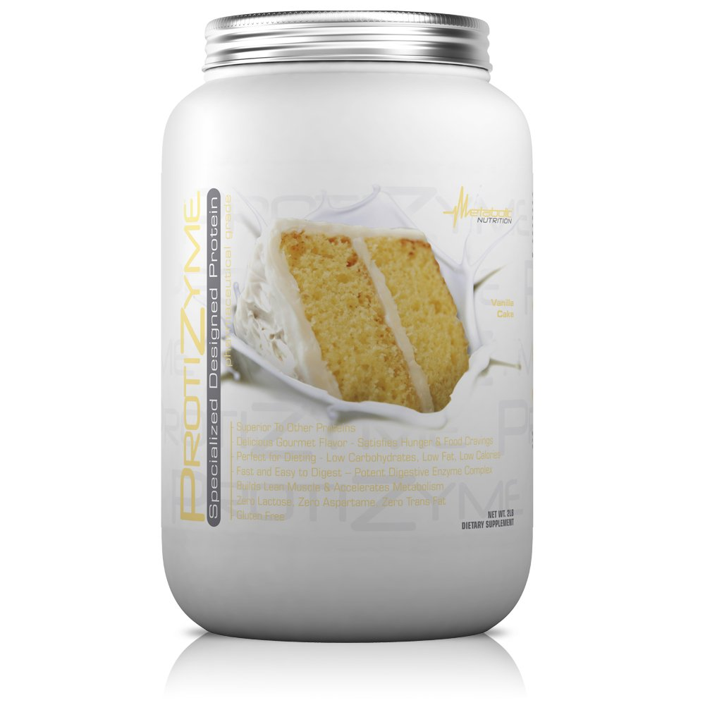Metabolic Nutrition, Protizyme, 100 Whey Protein Powder, High Protein, Low Carb, Low Fat Whey Protein, Digestive Enzymes, 24 Essential Vitamins and Minerals, Vanilla Cake, 2 Pound 26 ser