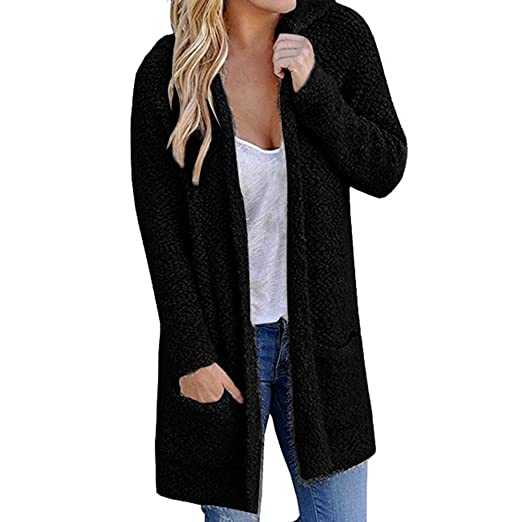 57c8091302 MS Mouse Women s Open Front Long Thick Knit Hoodie Two Pockets Cardigan  Sweaters Black Small