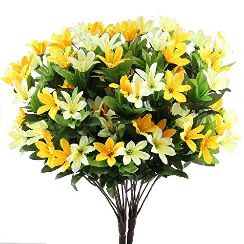 Silk Flowers, GTIDEA 2PCS Artificial Daisy Bundle Fake Floral Bushes Bride Bouquet Indoor Outdoo ...
