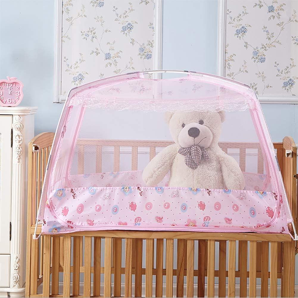 BAGGYE Fibra de Poliester Puerta Doble Plegable Mosquitera Cama Totalmente Cerrado Independiente para Dormitorio de niños,Pink,M