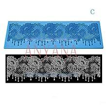 Anyana 30x40cm Large Silicone Lace Cake Mat fondant mold Roses Flowers wedding