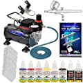 Master Airbrush Brand Finger Nail Decorating System. With Master G22 Airbrush, Air Compressor, Stencil Set of Over 100 Designs, 6' Air Hose, Black, KRed, White, Blue, Yellow & Pink Nail Paint it in 1-oz Bottles. The Kit Now Includes a (FREE) How to Airbru