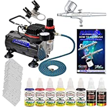 Professional Airbrush Nail Painting System Kit with Gravity Feed Airbrush, Air Compressor, 6 Color Nail Paint Set and 20 Stencil Sheets with 300 Designs