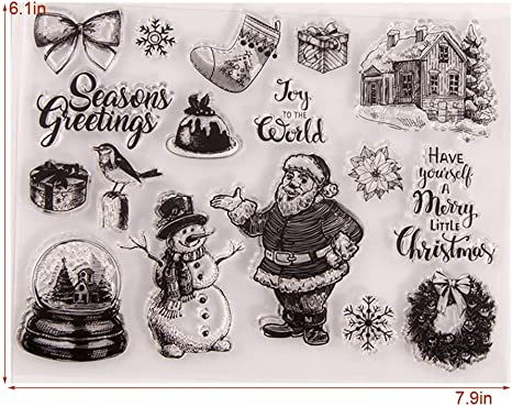 KWELLAM Merry Christmas Santa Snowman Bird Wreath Ball House Sock Clear Stamps for Card Making Decoration and DIY Scrapbooking