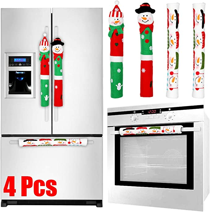 Refrigerator Door Handle Covers Set of Four Christmas Jingle Bells Theme 13 L x 5\u201d W
