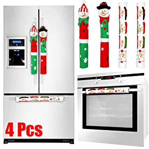 Tonak Refrigerator Handle Covers Christmas Decorations for Kitchen Appliance Oven Door Handle Xmas Decor Ornaments Snowman Set of 4