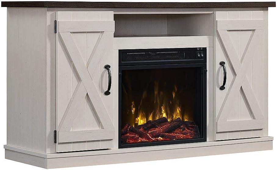 Amazon Com Comfort Smart Killian Electric Fireplace Tv Stand Two Tone Home Kitchen
