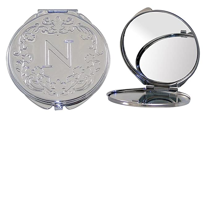 Polished Metal Compact Purse Mirror with Dual View, Monogram Initial N and Floral Print.