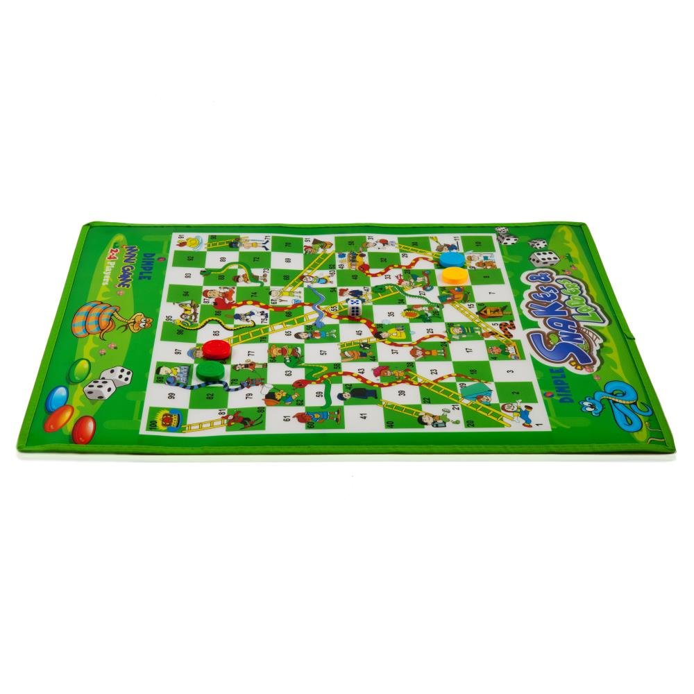 Dimple 2-4 Players Jumbo Snakes and Ladders Mat/Board with 4 Jumbo Pieces for Fun Childrens Playtime