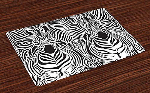 Ambesonne Zebra Print Place Mats Set of 4, Illustration Pattern Zebras Skins Background Blended Over Zebra Body Heads, Washable Fabric Placemats for Dining Table, Standard Size, Black White