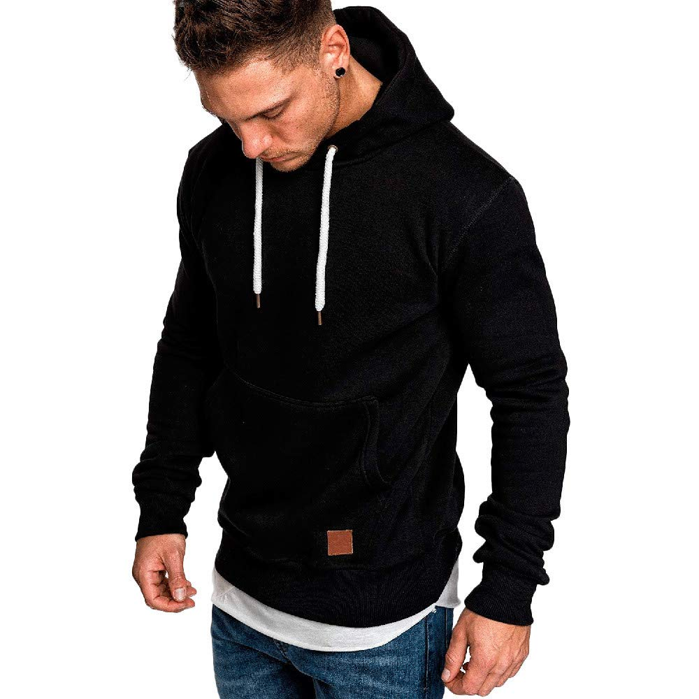 Mens Shirts Clearance Charberry Long Sleeve Autumn Winter Casual Sweatshirt Hoodies Top Blouse Tracksuits (US-L/CN-XL, Black)