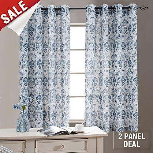 Damask Printed Curtains for Bedroom Drapes Vintage Linen Blend Medallion Curtain Panels, Window Treatments for Living Room Patio Door (1 Pair, 63