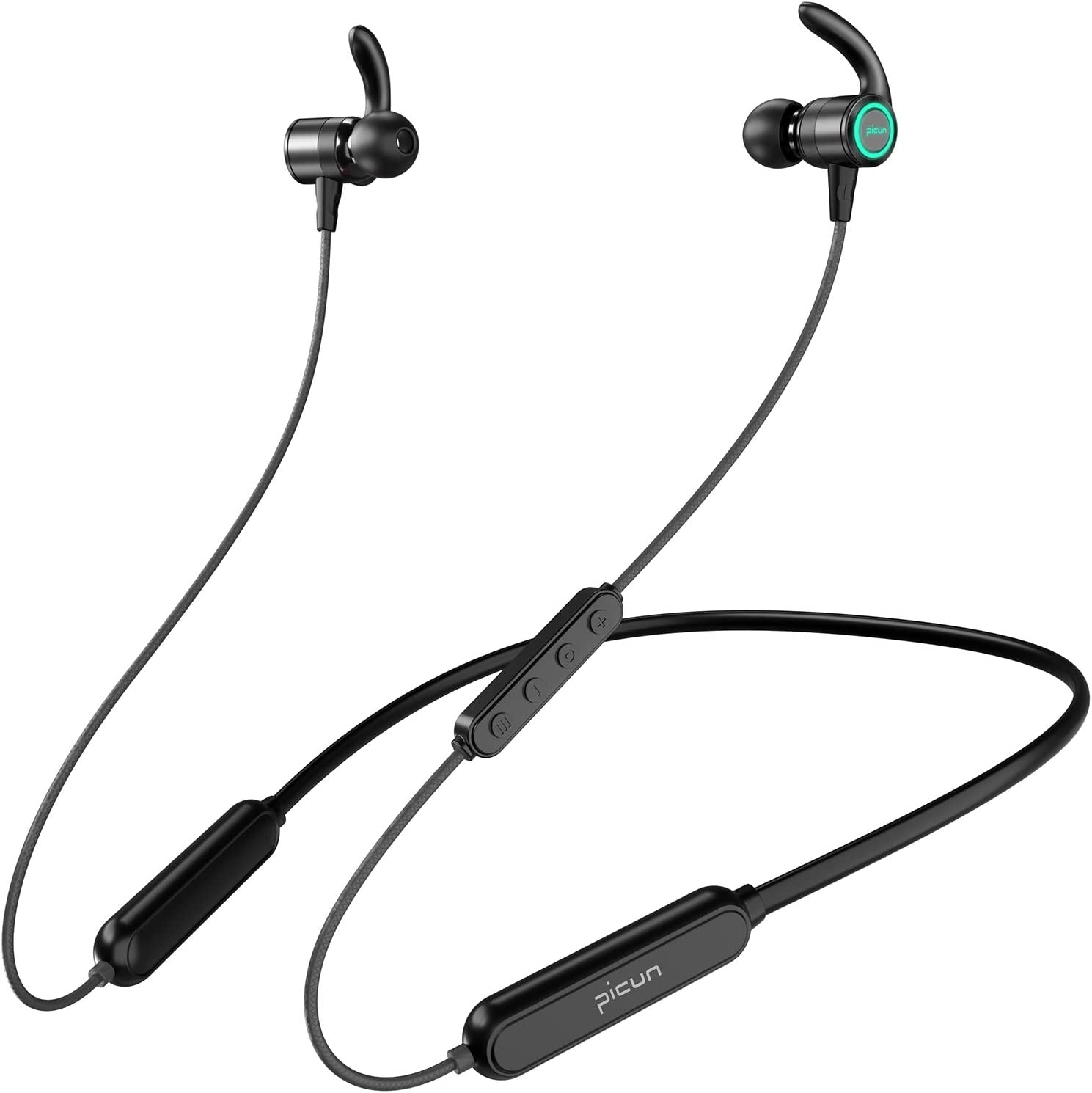 Picun Wireless Headphones 35H Playtime Neckband Bluetooth Headphones LED Light, HiFi Stereo IPX7 Waterproof Wireless Sport Earbuds w Mic, EQ Bass, Siri, Bluetooth5.0 Magnetic Running Earphones Workout