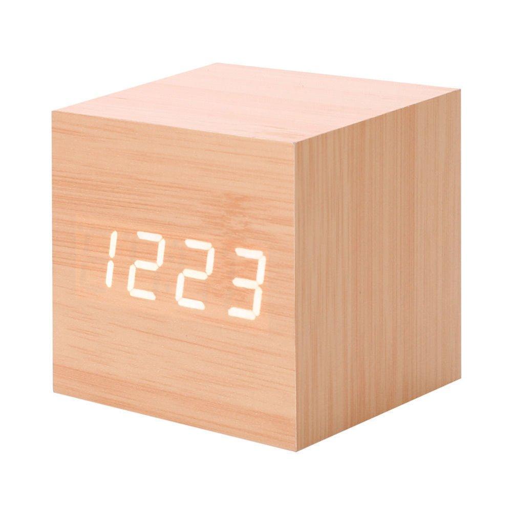 1 Cube Wood Alarm Clock