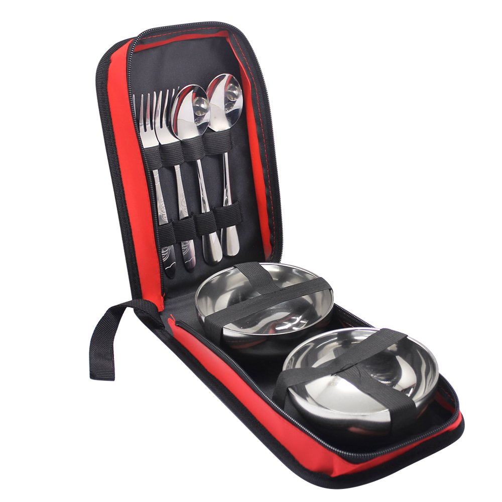 Hysagtek 6 Pcs Portable Stainless Steel Travel Camping Outdoor Utensils Cutlery Set Flatware Dinnerware Set Portable Tableware Kit with Zipper Case, Spoon,Fork,Bowl for 2 People