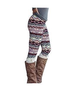 Perman Casual Women Skinny Geometric Print Stretchy Jegging Pants Slim Leggings (M, Multicolor A)