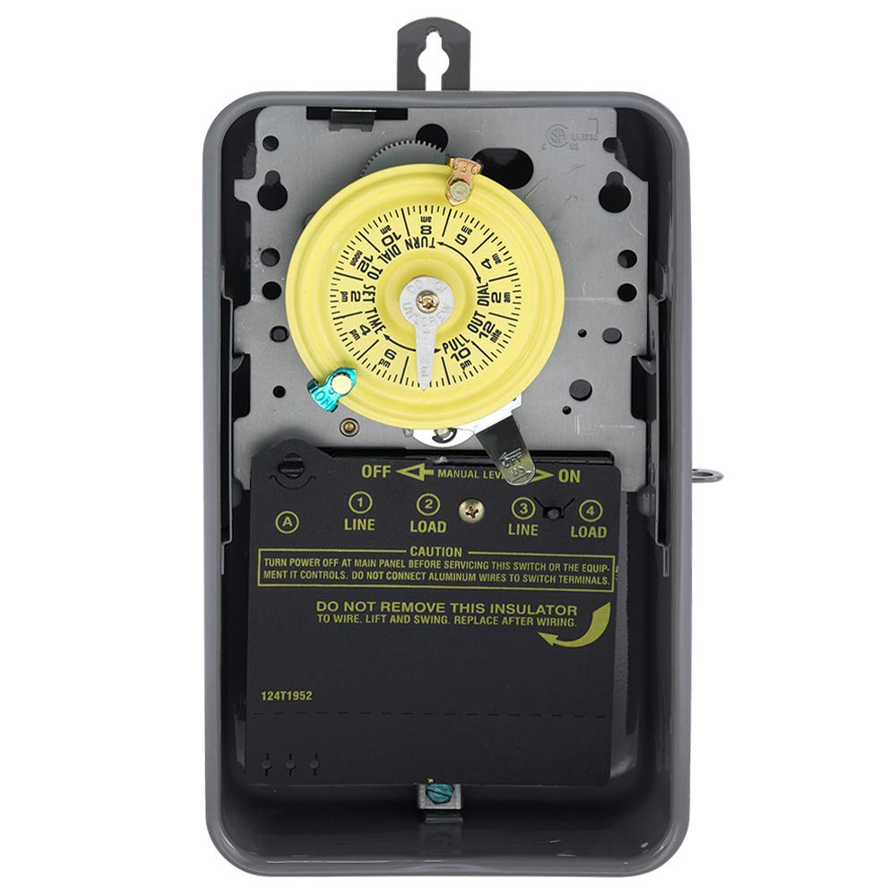 Intermatic T104R Electromechanical Timer, 208-277 V, 40 A, 1-23 hr, 1-12 Cycles per Day by Intermatic