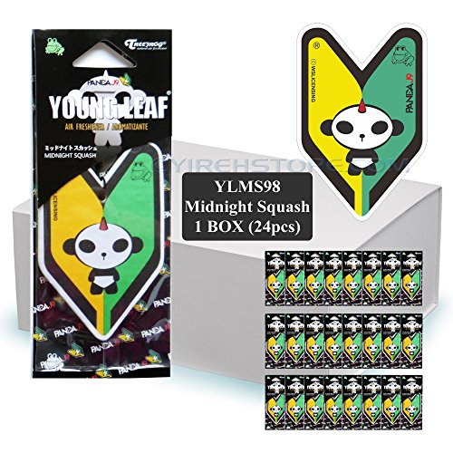 Wakaba Young Leaf YLMS98 Japan Tree Frog Midnight Squash Scents JDM Hanging Air Freshener, 1 Box, 24 Piece (Midnight Tree)
