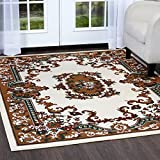 Home Dynamix Premium Astana Area Rug |Traditional Persian-Style Carpet | Classic Medallion Print Dining Room Rug | Timeless Home Décor | Cream, Brown, Hunter Green 7'8'' x 10'7''