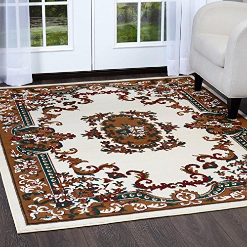 Cream Brown Rectangle Rug (Home Dynamix Premium Astana Area Rug by Traditional Persian-Style Carpet | Classic Medallion Print Dining Room Rug | Timeless Home Décor | Cream, Brown, Hunter Green 5'2 x 7'4)