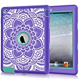 ipad 2 case for girls - iPad 2/3/4 Case, Hocase Shockproof Heavy Duty Hard Plastic+Silicone Rubber Dual Layer Screenless Protective Case for 9.7-inch iPad 2nd/3rd/4th Generation Retina - Purple Floral Print/Teal