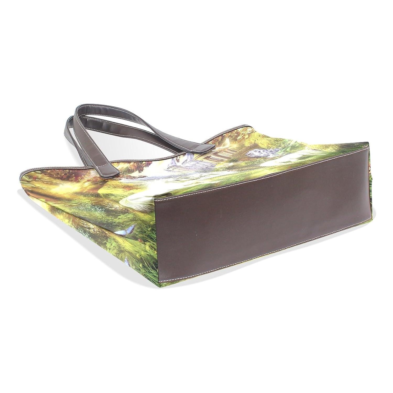 CCBHGY Women's White Unicorn pattern Leather Handbag Zipper Shoulder Bag Tote Bag