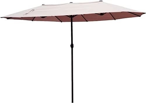 Outsunny VD-3454OPBE Crank-Tan 15 Double-Sided Twin Outdoor Market Patio Umbrella with Cran, L x 8.85 W x 7.9 H