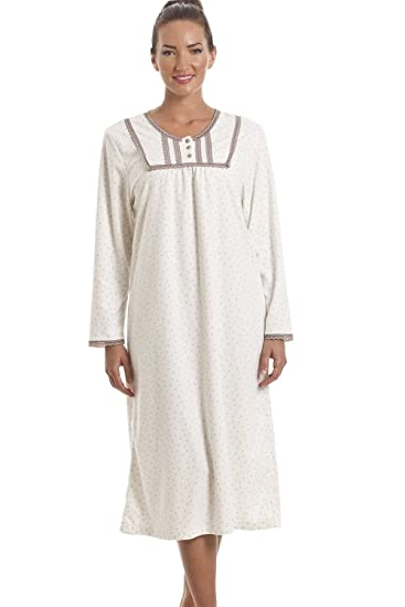 872aa2c21626a Chemise de Nuit en Polaire Douce Classique Manches Longues Motif à Pois  -Ivoire: camille: Amazon.fr: Vêtements et accessoires